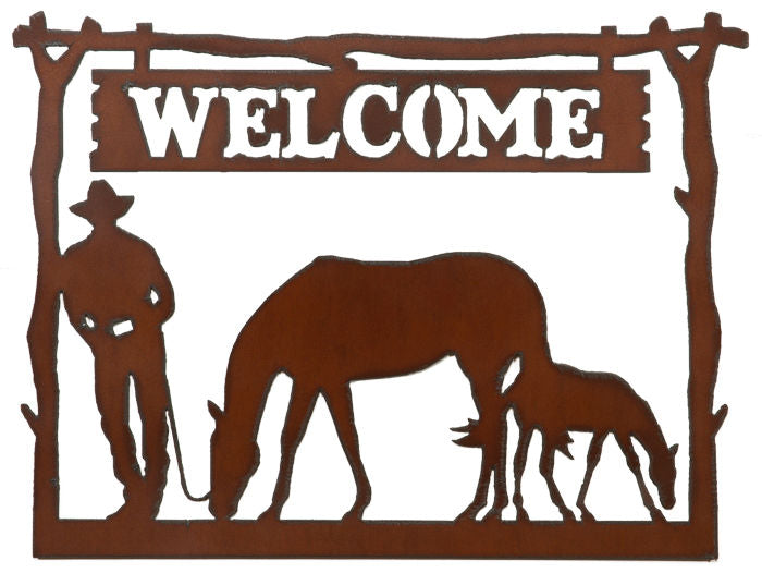 #H166 Welcome Framed Cowboy with Horse Metal Sign