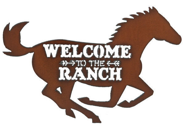 #IM1206 Welcome to the Ranch Horse Metal Sign