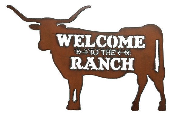 #IM1209 Welcome to the Ranch Longhorn Metal Sign