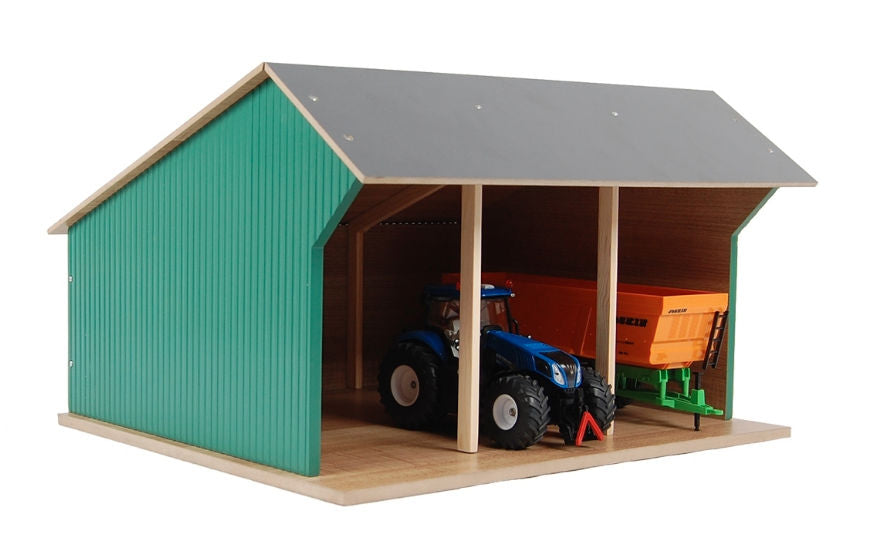#KG610192 1/32 Wooden Farm Machinery Shed for 3 Tractors