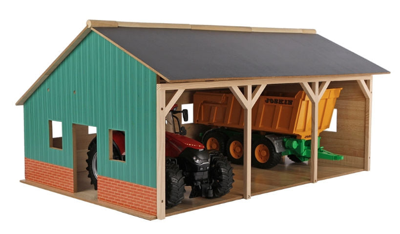 #KG610340 1/16 Wooden Farm Machinery Shed for 3 Tractors