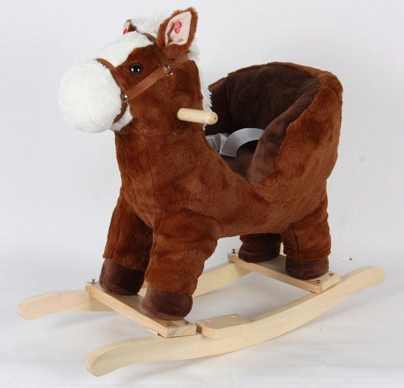 #L36098 Brown Infant Rocking Horse with Safety Belt & Sound