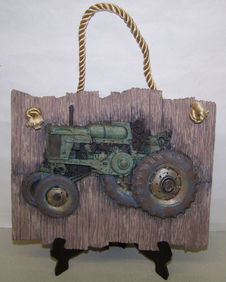 #MR10376 Green Tractor Wall Plaque