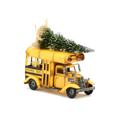 #VA17007 Vintage Metal School Bus with Christmas Tree