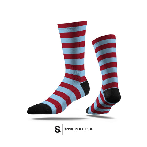 Maroon & Blue Striped Socks