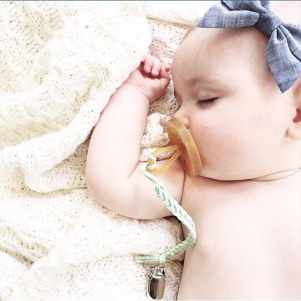*Madeline's Box Leather Braided Suede Pacifier Clip - Caribbean