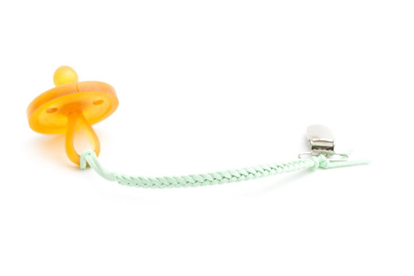 *Madeline's Box Leather Braided Suede Pacifier Clip - Mint