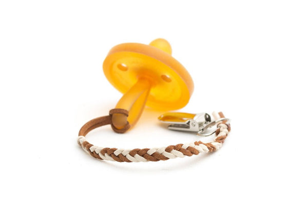 *Madeline's Box Leather Suede Braided Pacifier Clip - Giraffe