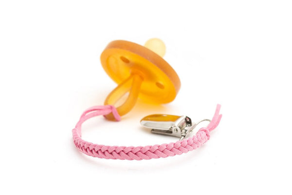 *Madeline's Box Leather Braided Suede Pacifier Clip - Pretty in Pink