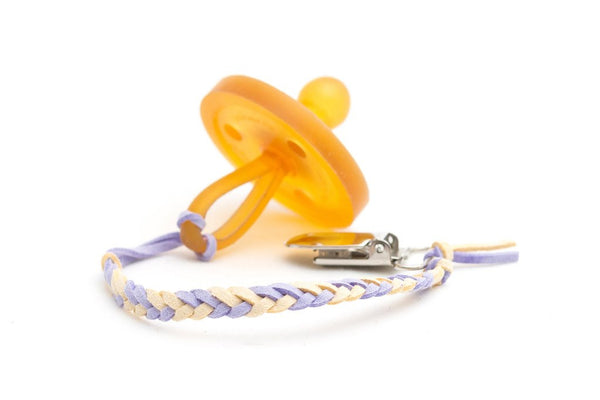 *Madeline's Box Leather Braided Suede Pacifier Clip - The Princess