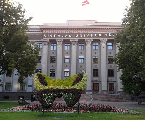 Topiary butterfly in front of Liepaja University