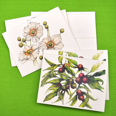 Blank Notecards, Set of Four - Proceeds to Charity - Original Drawings by Ilga - Berries and Anemone
