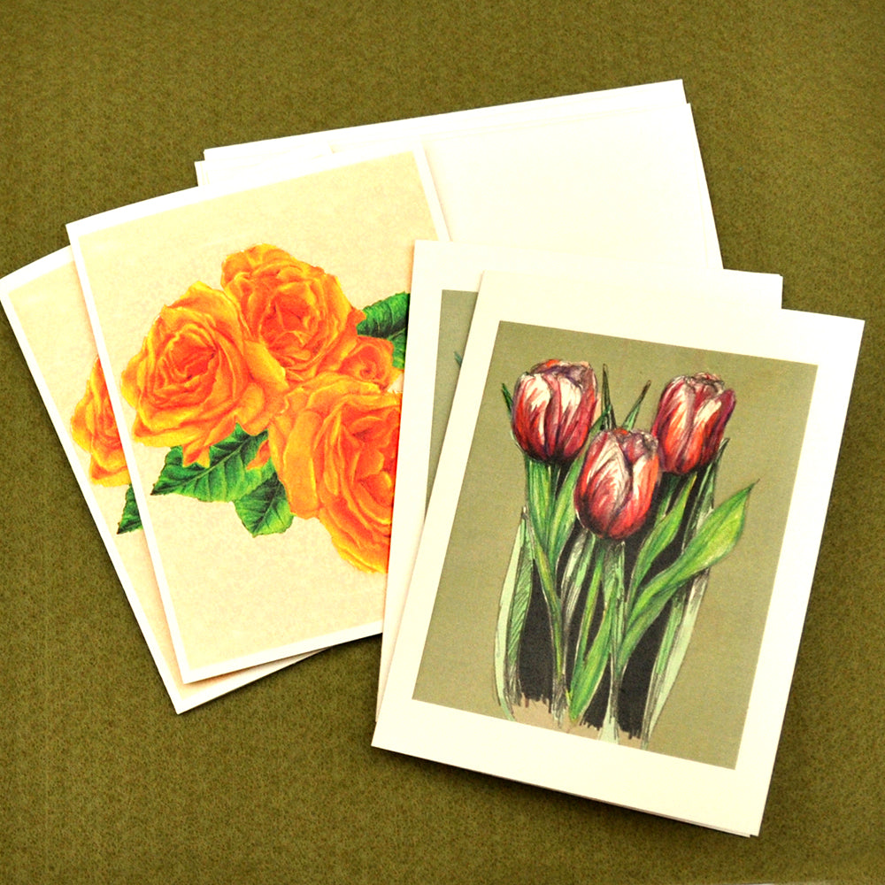 Rose and tulip blank note cards