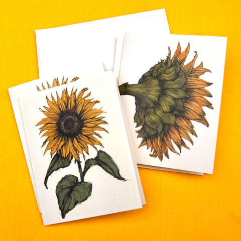 Blank Notecards, Set of Four - Proceeds to Charity - Original Drawings by Ilga - Sunflowers