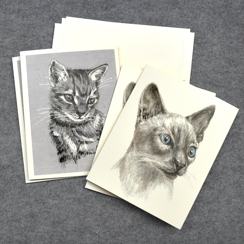Cats drawing blank note cards