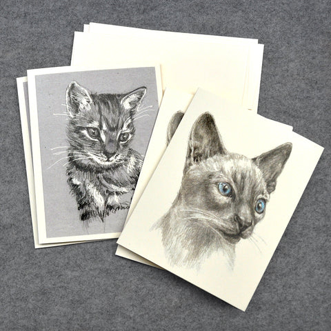 Blank Notecards, Set of Four - Proceeds to Charity - Original Drawings by Ilga - Cats 2