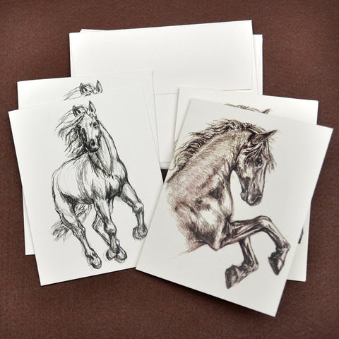 Blank Notecards, Set of Four - Proceeds to Charity - Original Drawings by Ilga - Horses