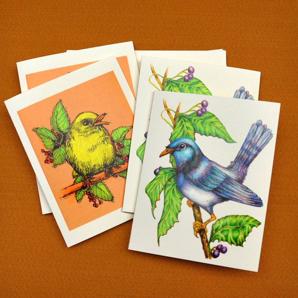 Imaginary birds drawings blank note cards