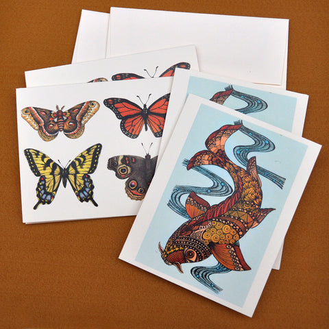 Blank Notecards, Set of Four - Proceeds to Charity - Original Drawings by Ilga - Koi and Butterflies