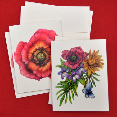 Blank Notecards, Set of Four - Proceeds to Charity - Original Drawings by Ilga - Poppies