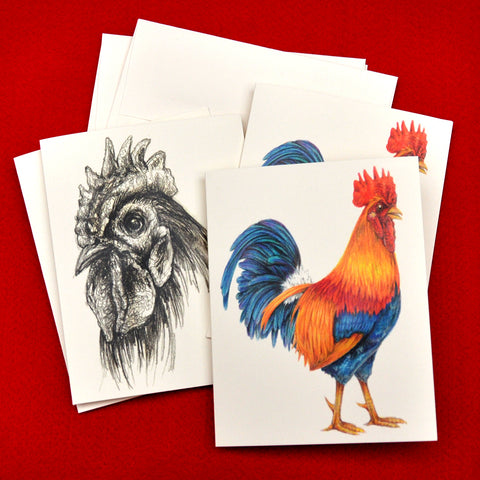 Blank Notecards, Set of Four - Proceeds to Charity - Original Drawings by Ilga - Roosters
