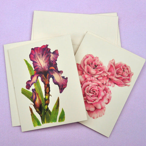 Blank Notecards, Set of Four - Proceeds to Charity - Original Drawings by Ilga - Roses and Iris
