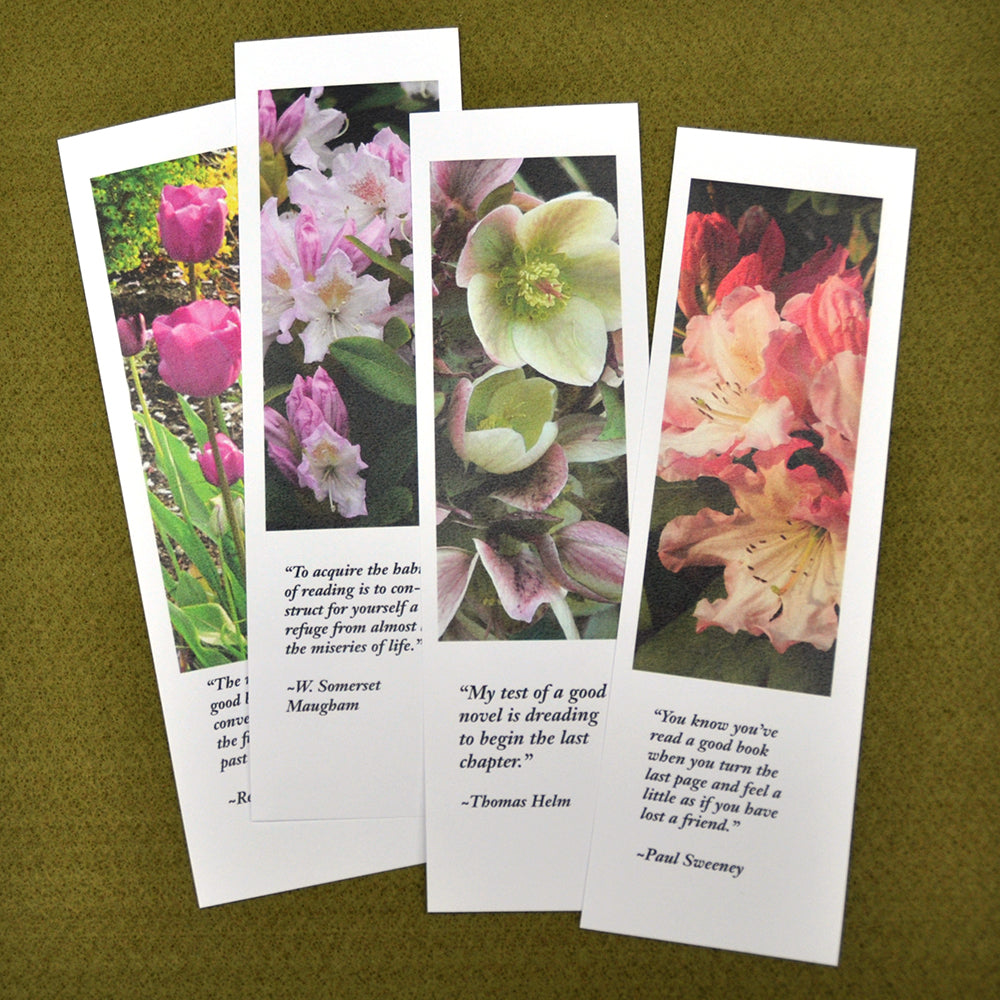 Bookmarks printed with garden photos and quotations