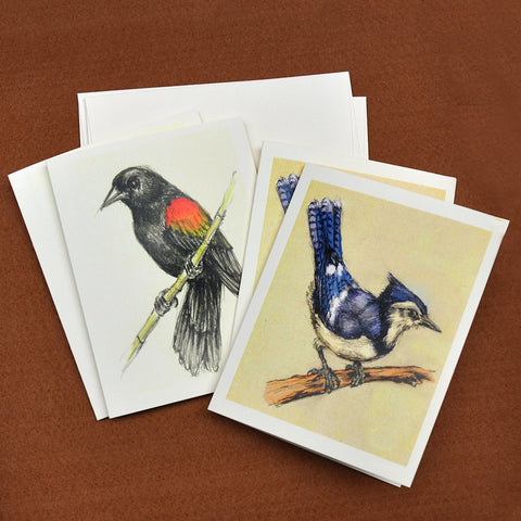 Blank Notecards, Set of Four - Proceeds to Charity - Original Drawings by Ilga - Songbirds