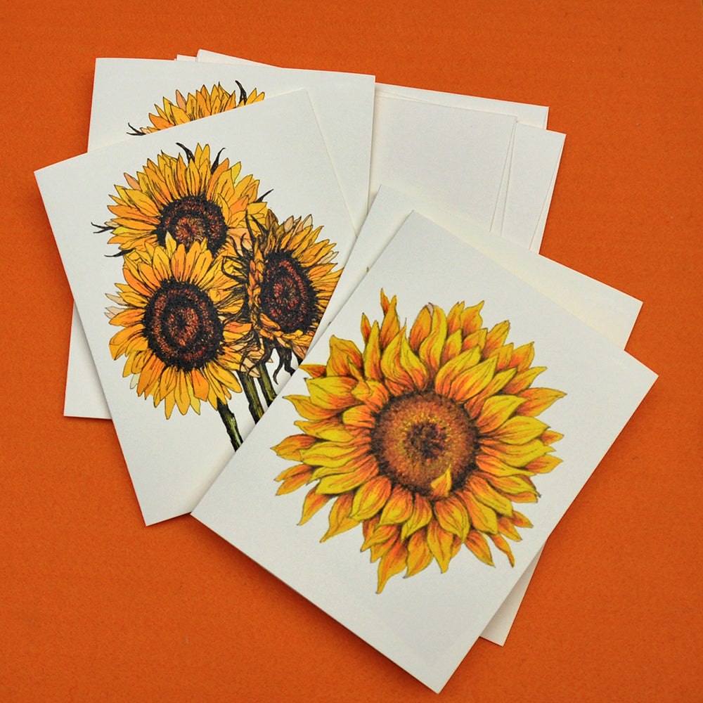 Sunflower drawing blank note cards