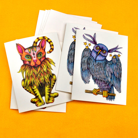 Blank Notecards, Set of Four - Proceeds to Charity - Original Drawings by Ilga - Fantasy Animals