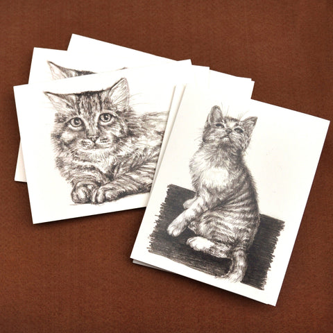 Blank Notecards, Set of Four - Proceeds to Charity - Original Drawings by Ilga - Cats