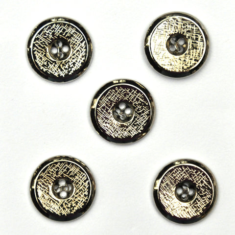 Silver Buttons with Scratch Pattern, Small - Set of 5