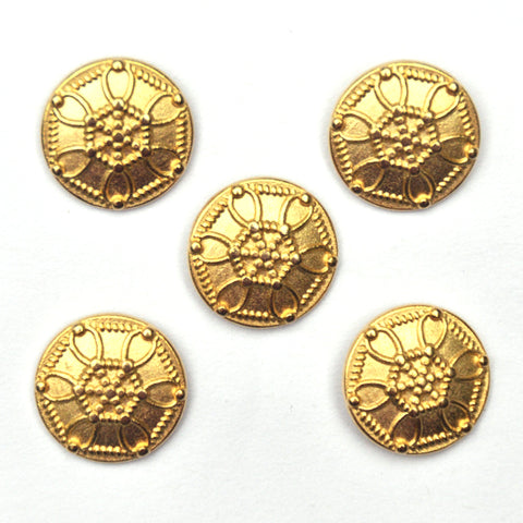 Gold Metal Buttons with central hexagonal pattern, Small - Set of 5
