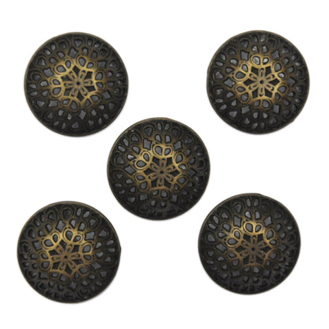 Bronze and Black Filigree Dome Buttons - Set of 5