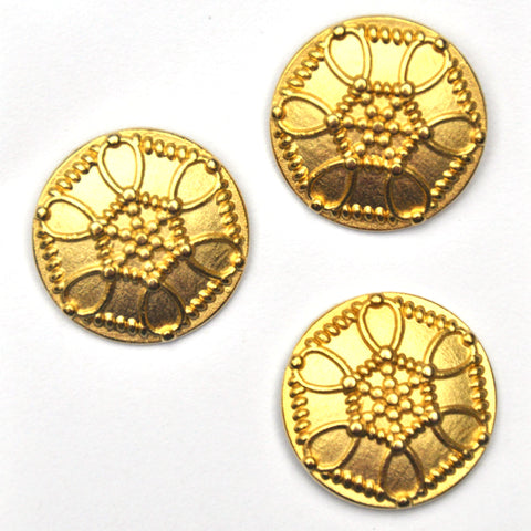 Gold Metal Buttons with central hexagonal pattern, Large - Set of 3