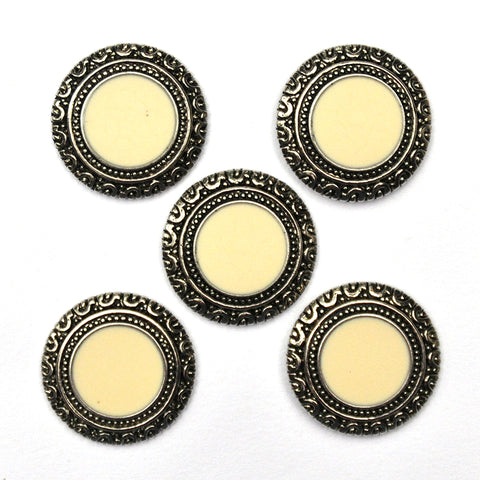 Silver Buttons with Ivory Inlay- Set of 5