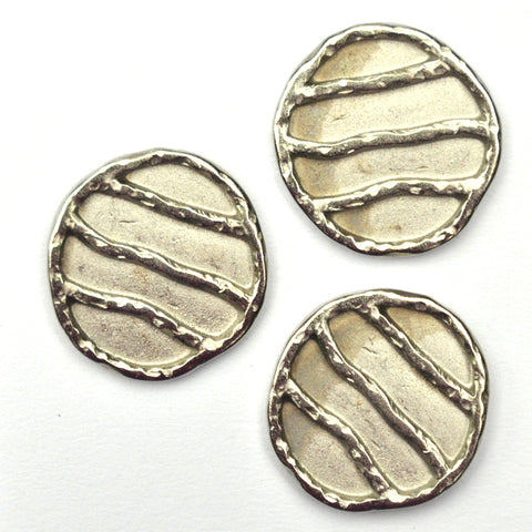 Silver Buttons with Irregular Stripes, Large - Set of 3