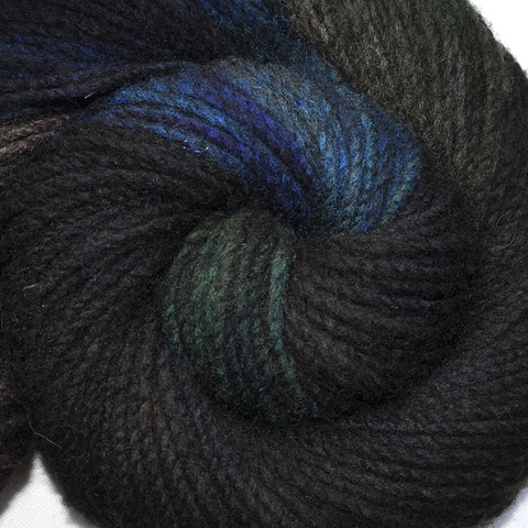 Handspun yarn - Domestic wool, heavy worsted weight, 180 yards - Nocturnal Rustlings