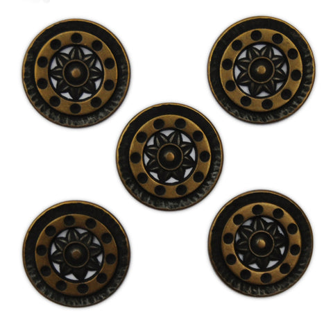 Bronze and Black Buttons with Sun Pattern - Set of 5