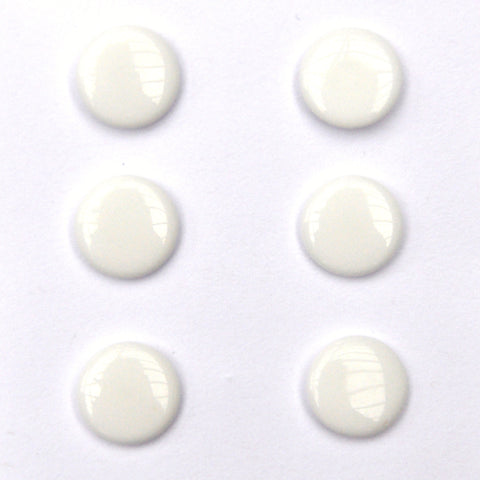 White Japanese Glass Buttons - Set of 6