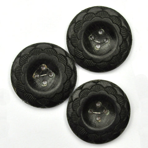 Black Buttons with Flower Pattern, Large - Set of 3