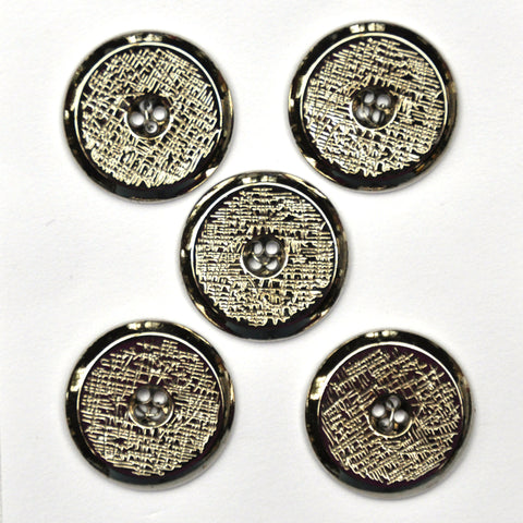 Silver Buttons with Scratch Pattern, Medium - Set of 5