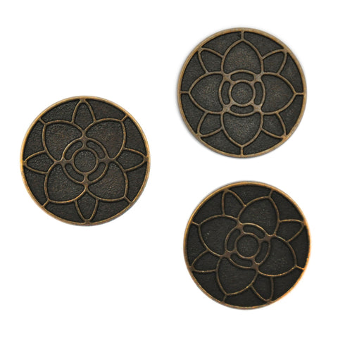 Bronze and Black Buttons with Flower Pattern, Large - Set of 3