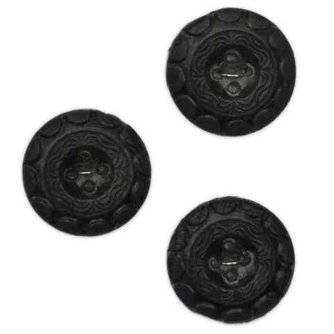 Black Buttons with Embossed Pattern - Set of 3