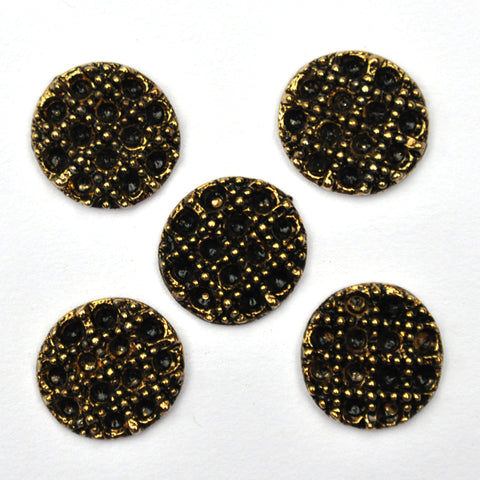 Black Buttons with Gold Grid - Set of 5