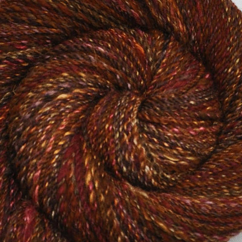 Handspun Silk / BFL wool yarn, DK weight, 310 yards - Foxy Tweed