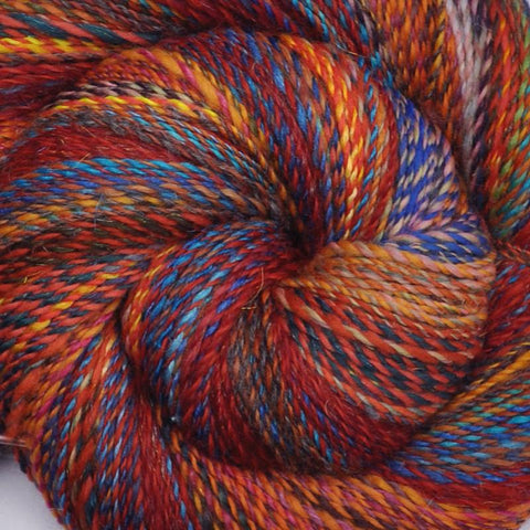Handspun wool yarn, Fine Sport weight, 550 yards - Sparkling Patchwork