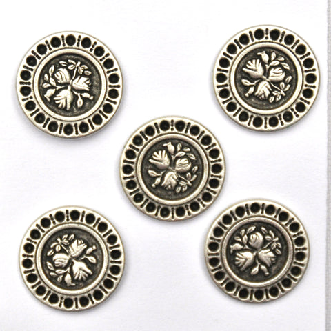 Silver Buttons with floral pattern, Medium - Set of 5