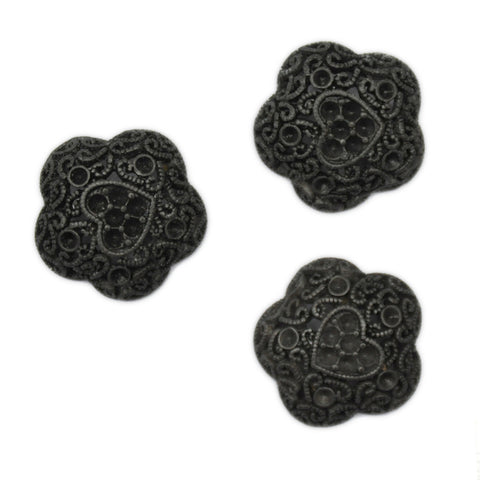 Silver & Black Filigree Buttons - Set of 3