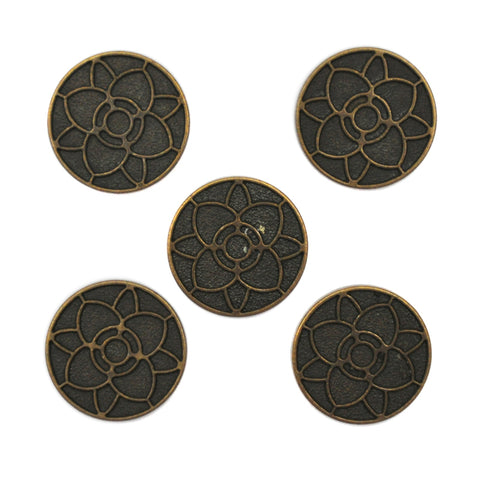 Bronze and Black Buttons with Flower Pattern, Small - Set of 5